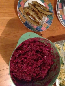 cabbage and beet slaw with chicken sausage